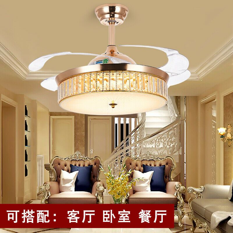 42crystal Invisible Ceiling Fans Chandelier Pendant Lamp
