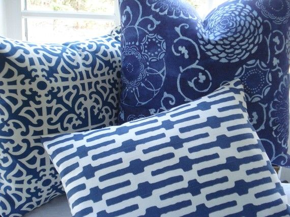 Terrific Lumbar Decorative Pillow Designer Fabric Blue And White Gamerscity Chair Design For Home Gamerscityorg