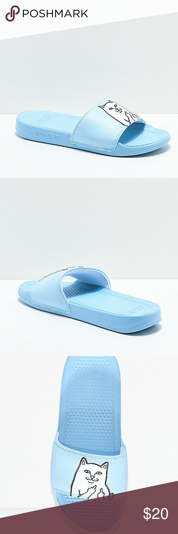 1d99451674ab RIPNDIP Lord Nermal Light Blue Slide Sandals Men s New RIPNDIP Lord Nermal  Light Blue Slide Sandals