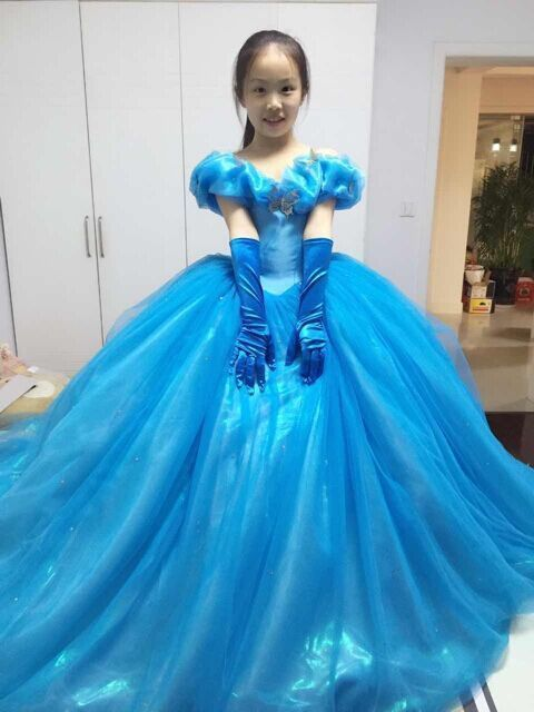 Cinderella Wedding Dress Child : Details about cinderella girl dress princess kids pageant