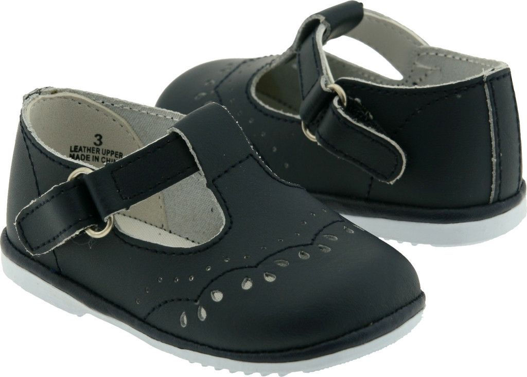 9fb09dfb7c56b Angel Infant Girls 2945 Navy Leather T-Strap Mary Janes