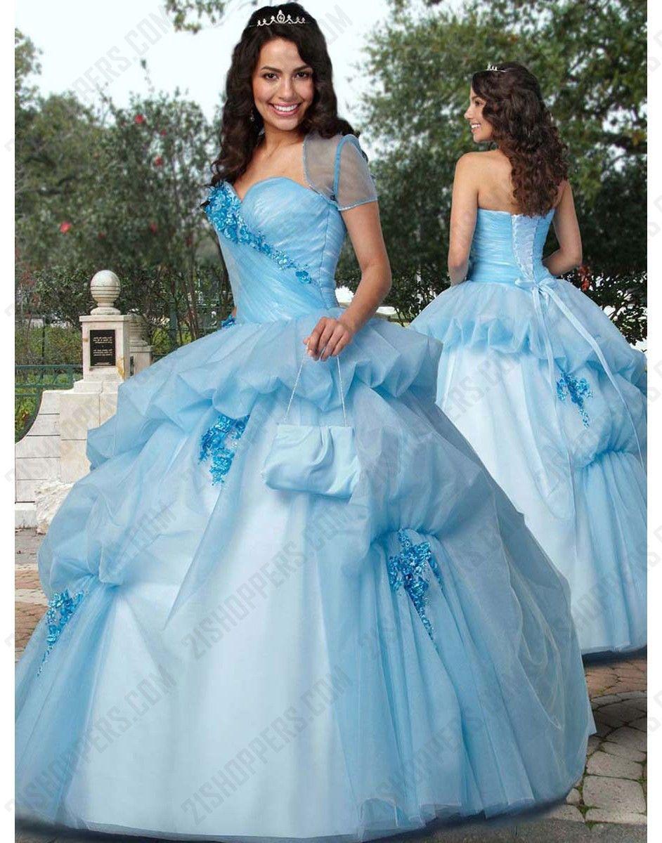 Light blue ball gown strapless sweetheart bandage floor-length ...
