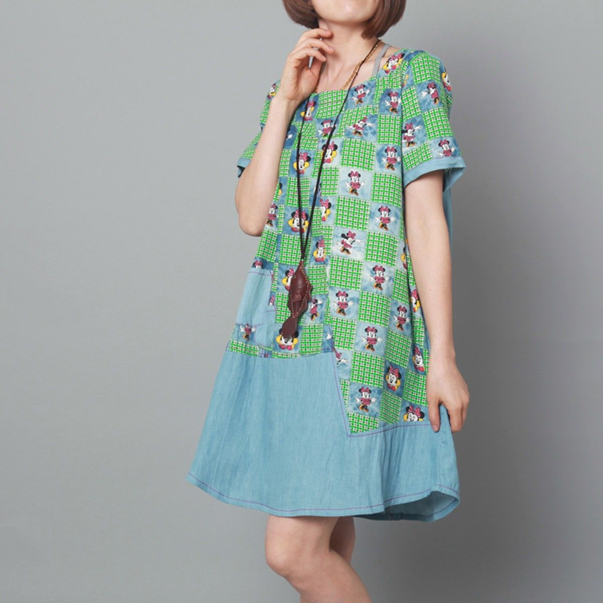 7021d4dff6d Green Mickey print summer shift dress cotton sundress maternity dress
