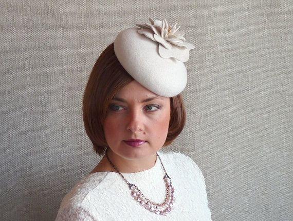 e57a3c63e Off White Felt Fascinator - White Cocktail hat - White Pillbox Hat ...