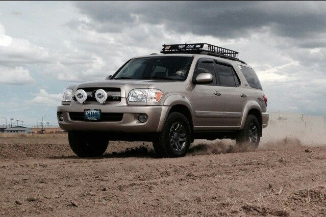 2007 Toyota Sequoia With Trd Bilstein Total Chaos And Hella I Love My Truck Toyota Sequioa Motorcycle Camping Gear Toyota Trucks
