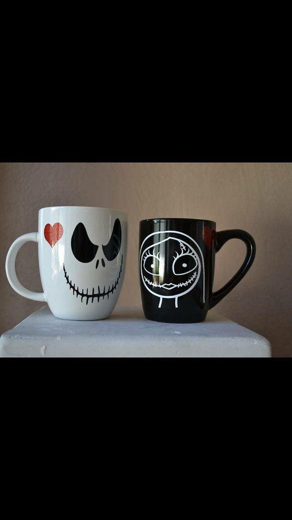 Jack & Sally, Nightmare Before Christmas Mug Set | All Hallows\' Eve ...