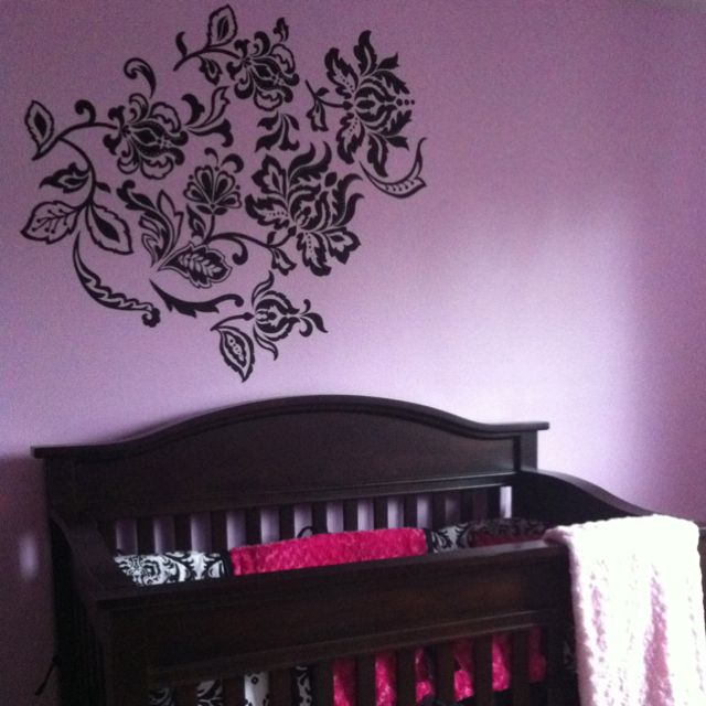 My baby girls room done in damask and pinks.