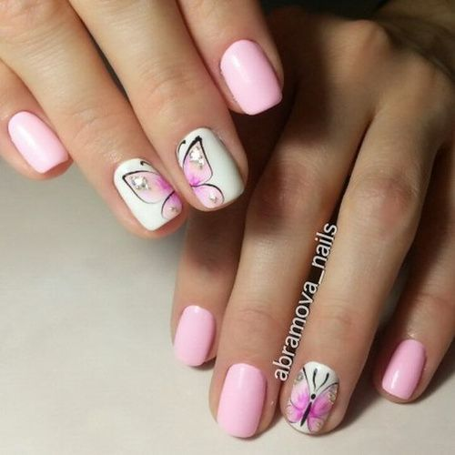 Pink And White Nails With Butterflies Butterfly Nail Art Nails Butterfly Nail