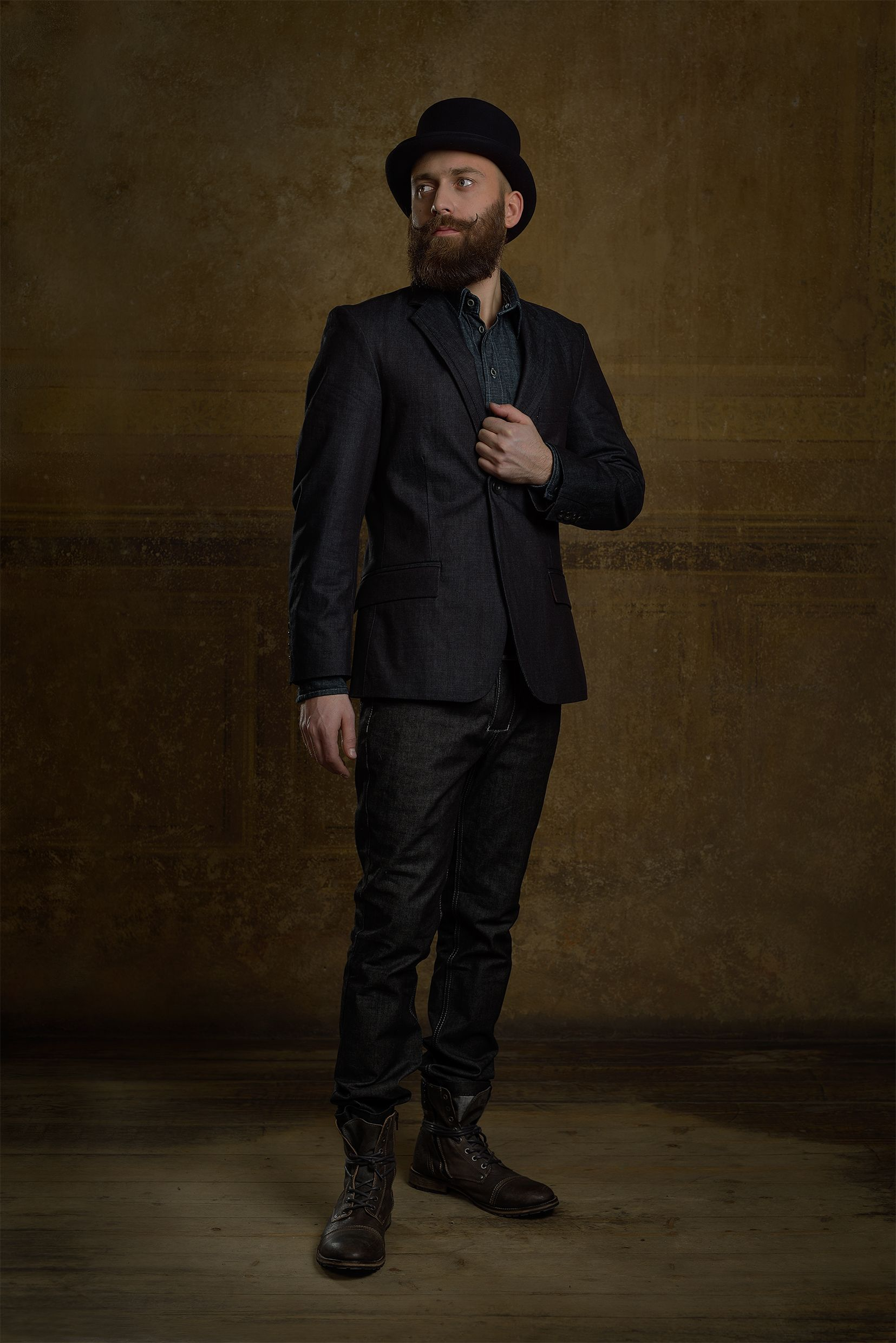 Handcrafted raw denim suit + tophat by Reval Denim Guild / Chapter One