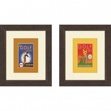 Pro Tour Memorabilia Vintage Golf Framed Art (Set of 2) - 1-6956 ...