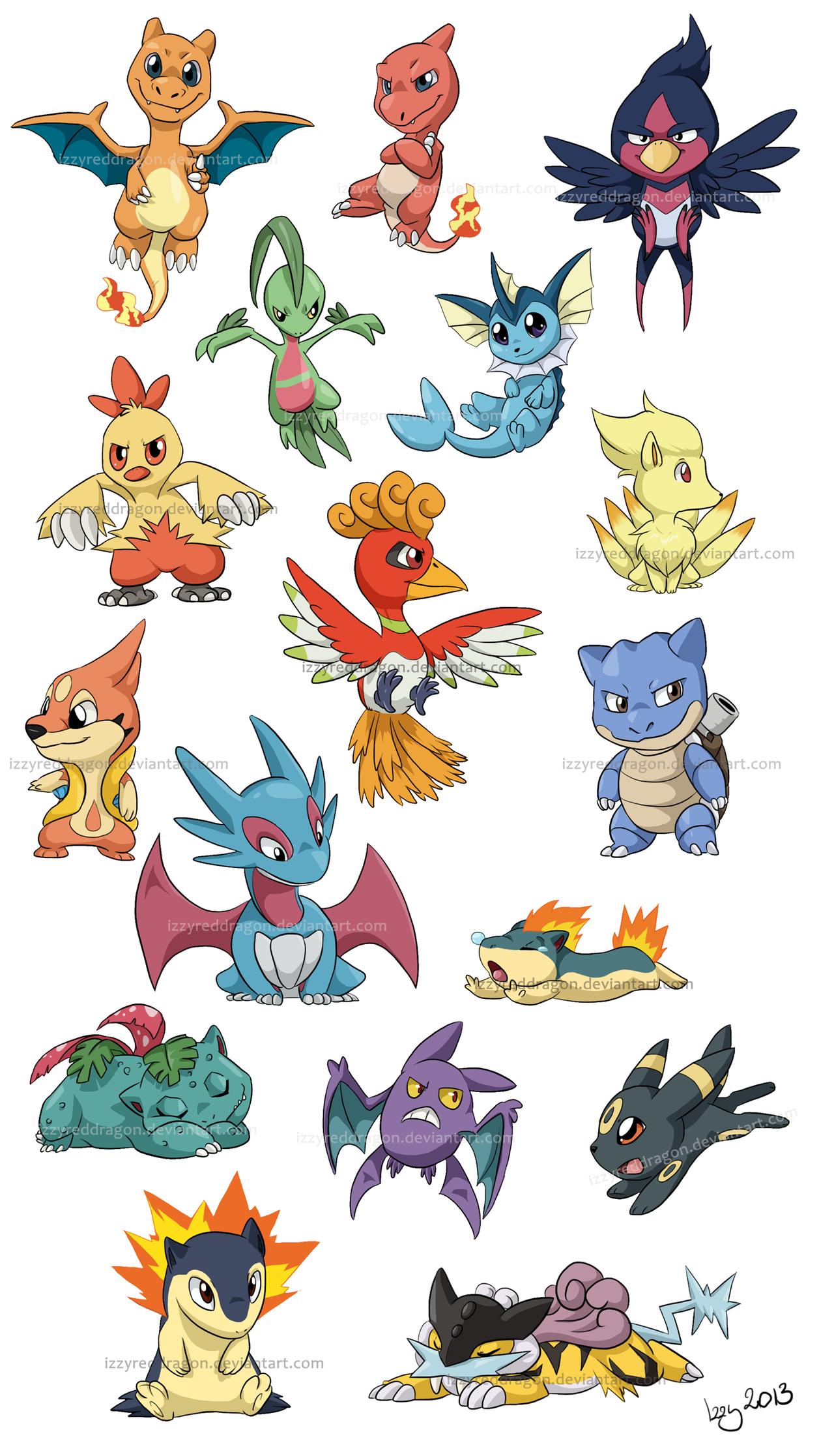 chibi pokemon stuff by *izzyreddragon on deviantart   pokemon favs