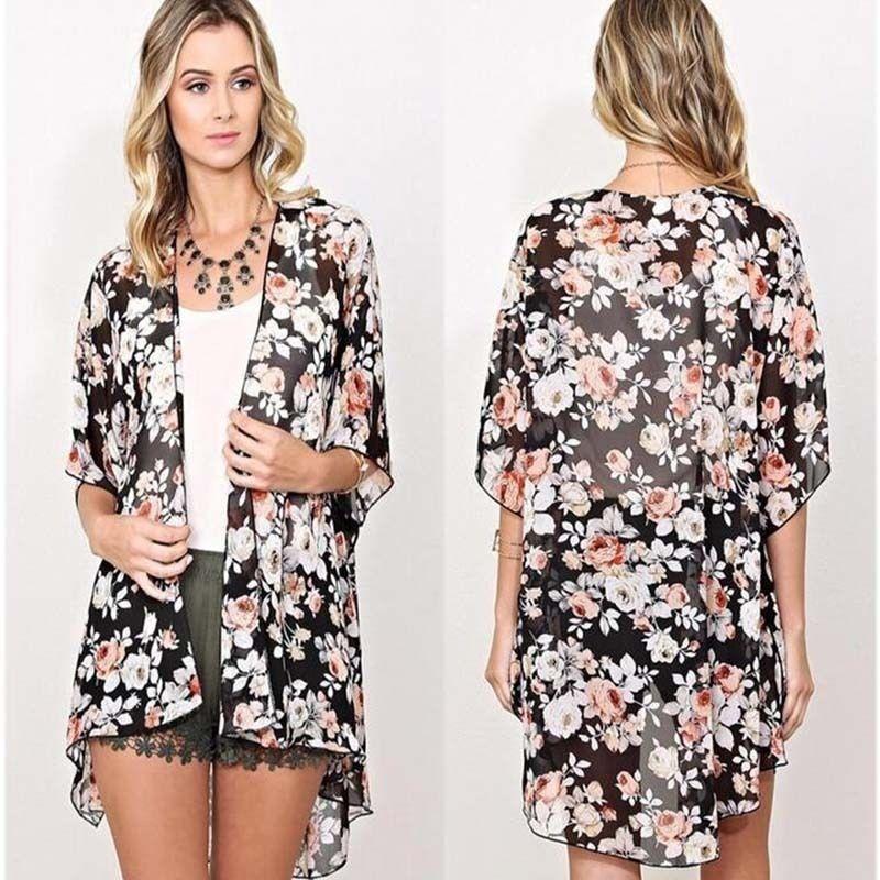 Summer Print Floral Kimono Cardigan - Boho Hippie Style - Bohemian ...