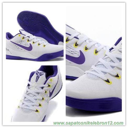 the best attitude 14d66 18e21 653972-703 Branco   Roxo Nike Kobe 9 EM produtos de basquete