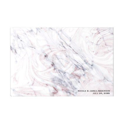 Touch Of Rose White  Grey Marble Chic Wedding Guest Book  Chic