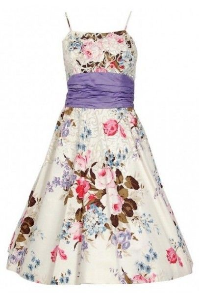 124292be965772 1950's Emma Domb Rose Garden Floral Print Sequin Cotton Full-Skirt Party  Dress, Los