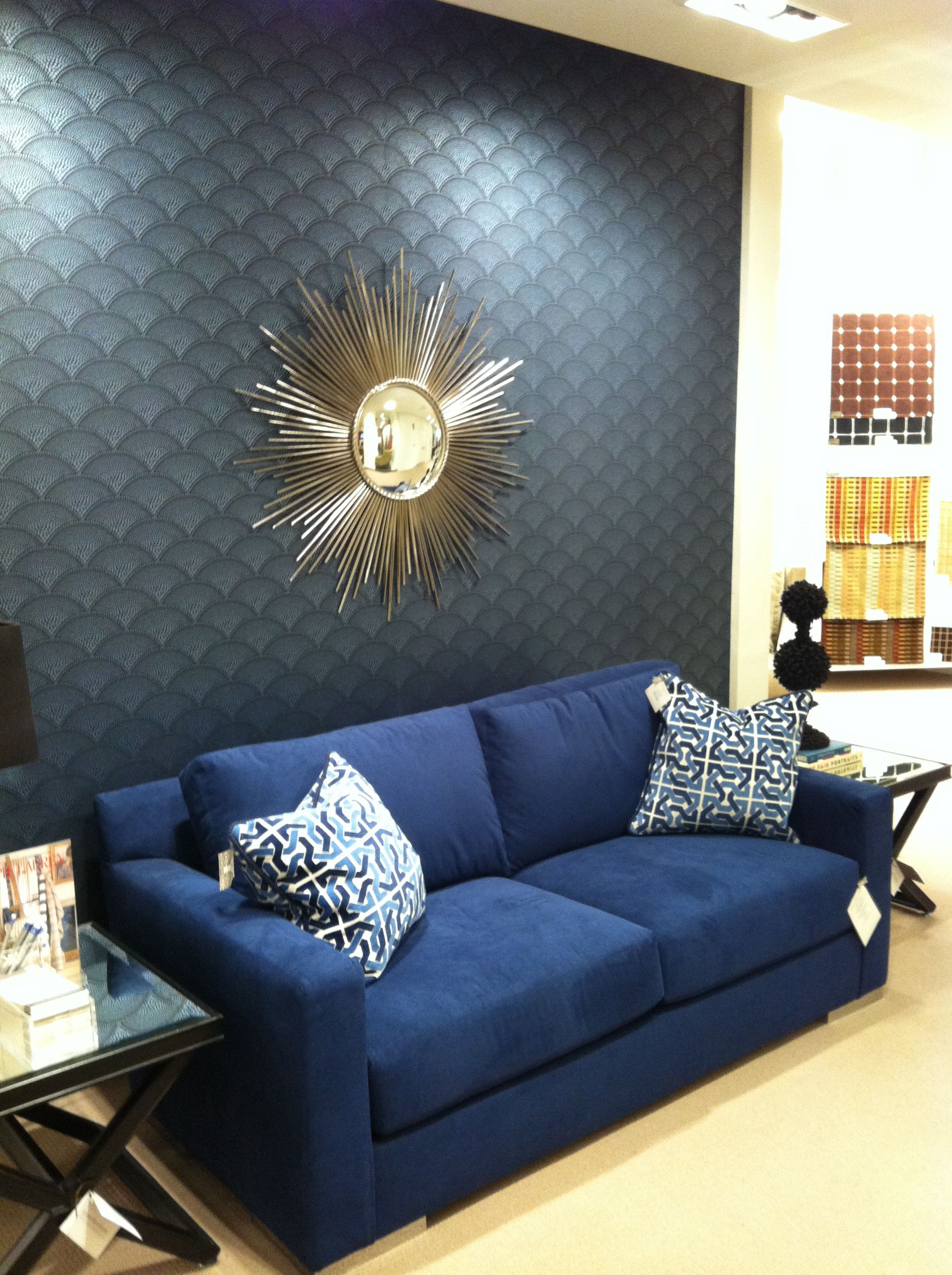 Blue sofas living room paints for Blue couch living room ideas