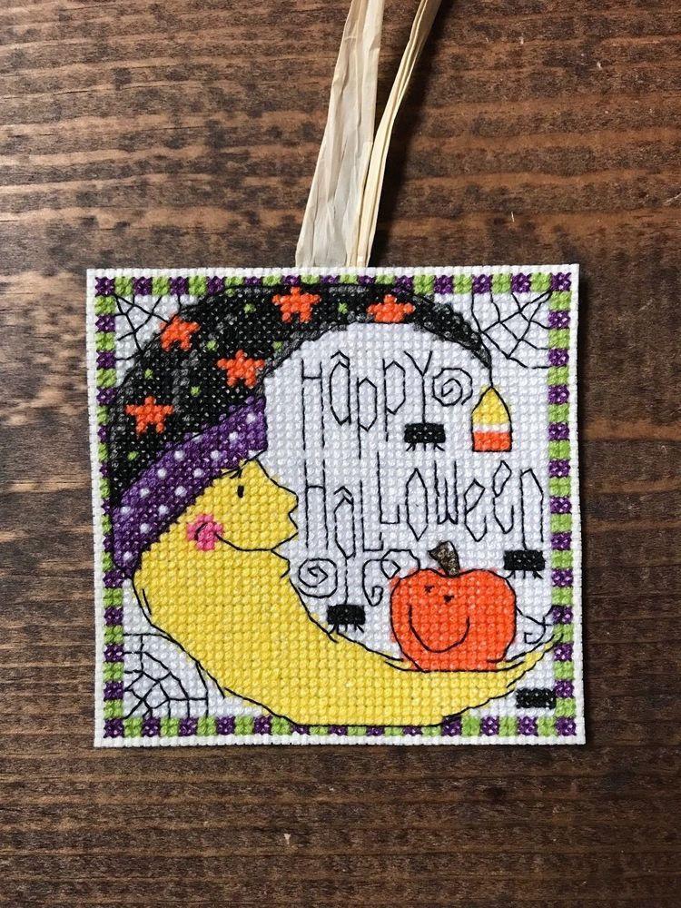 Handmade Cross Stitch Halloween Decoration-Pumpkin-Spider-Moon-Stars - halloween arts and crafts decorations