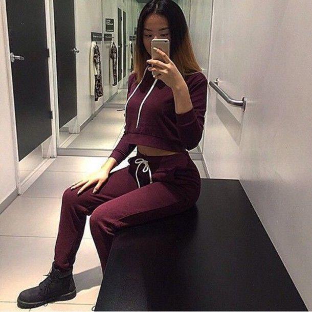 74de0b08a347 shirt jumpsuit sweatpants sweats burgundy girl joggers hoodie cropped  hoodie timberland boots tumblr outfit tumblr sweatsuit set timberlands  matching set ...