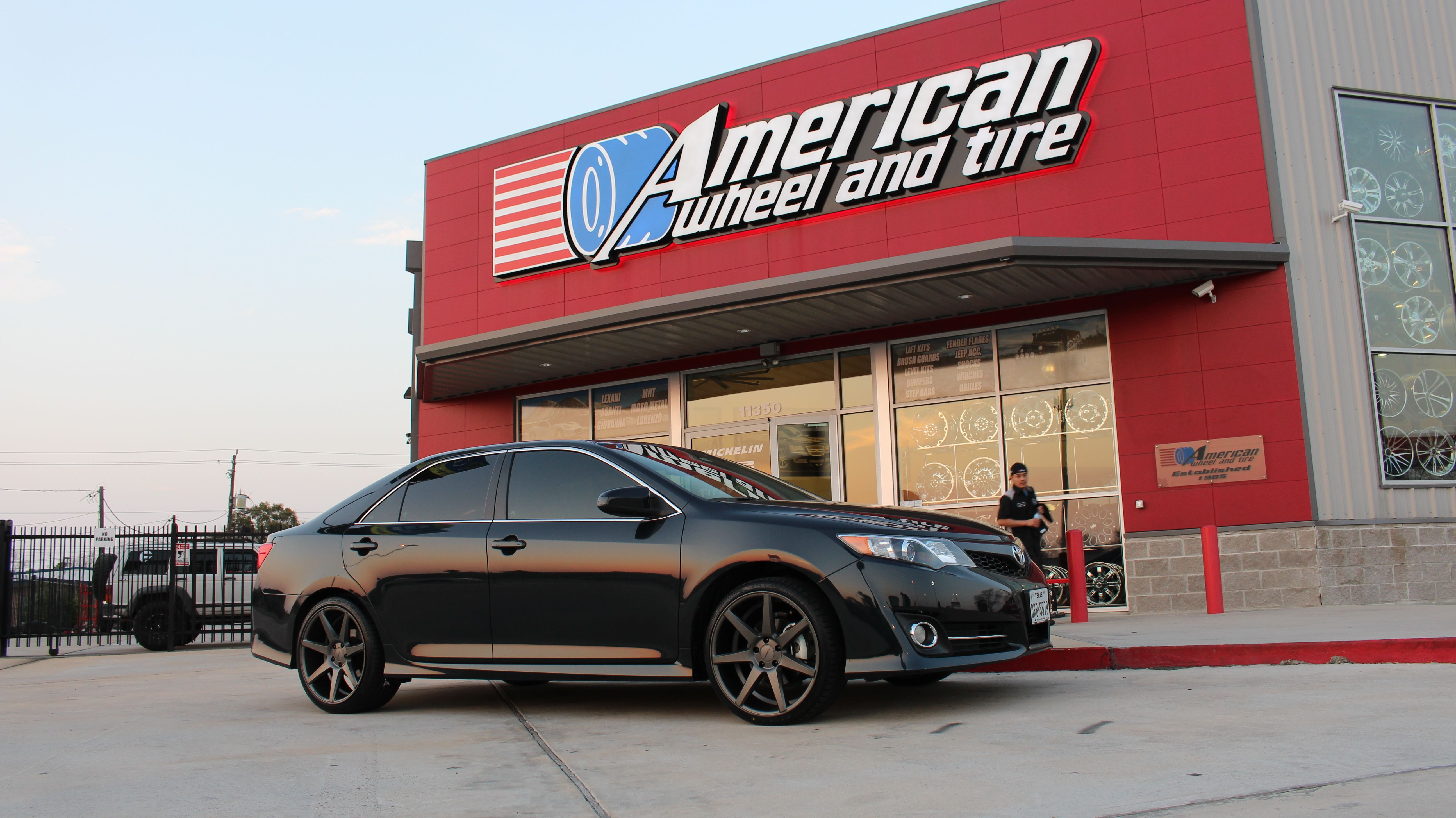 hight resolution of vossen cv7 wheels in matte graphite on a toyota camry 20x9 front with 245