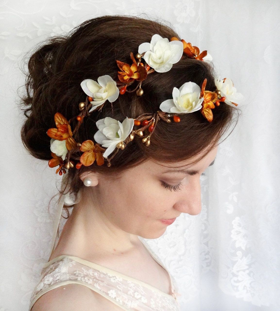fall wedding flower crown, autumn bridal hair accessories, copper