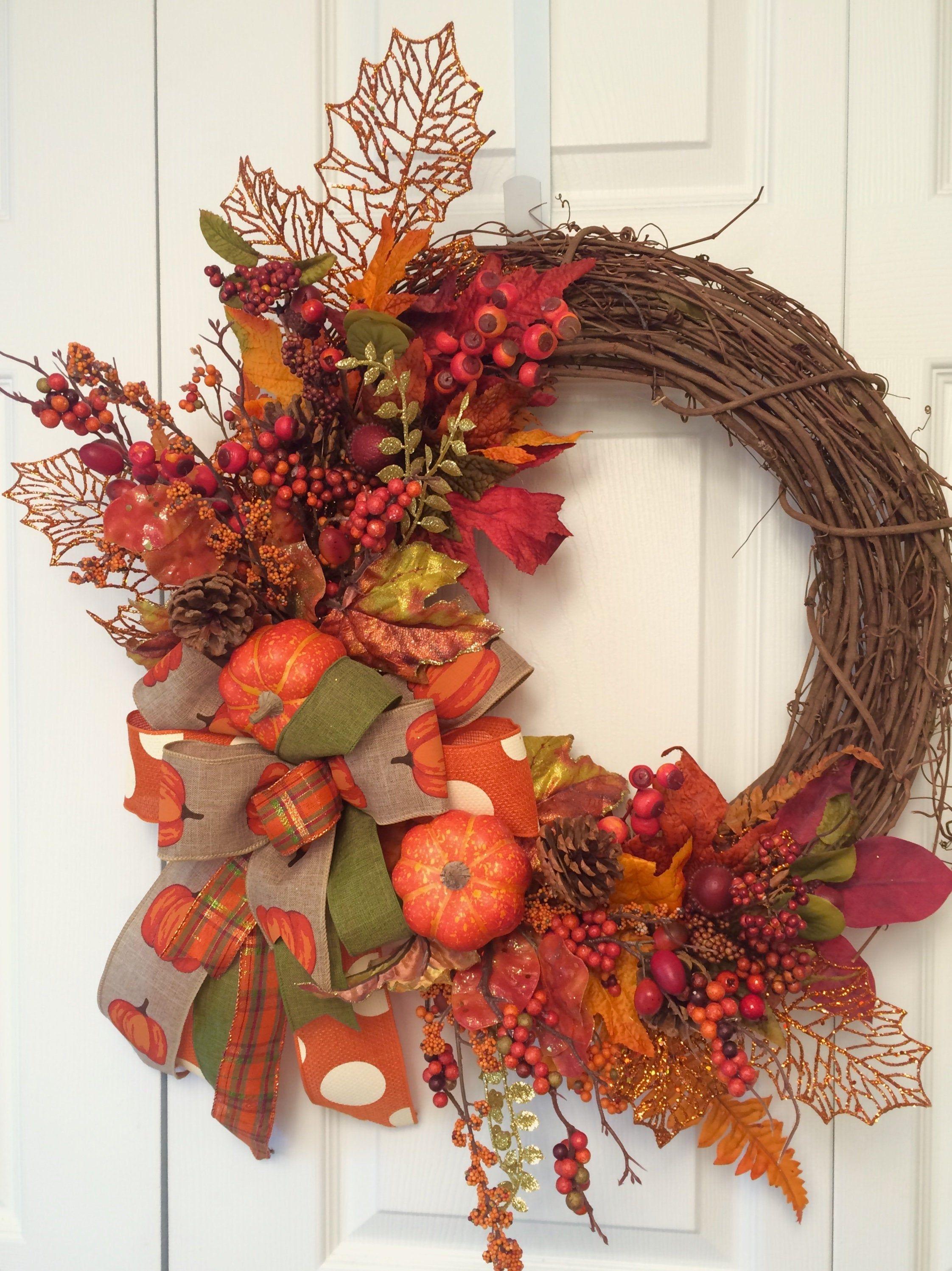 Fall Wreath Pumpkins Wreath Fall Grapevine Wreath Holiday