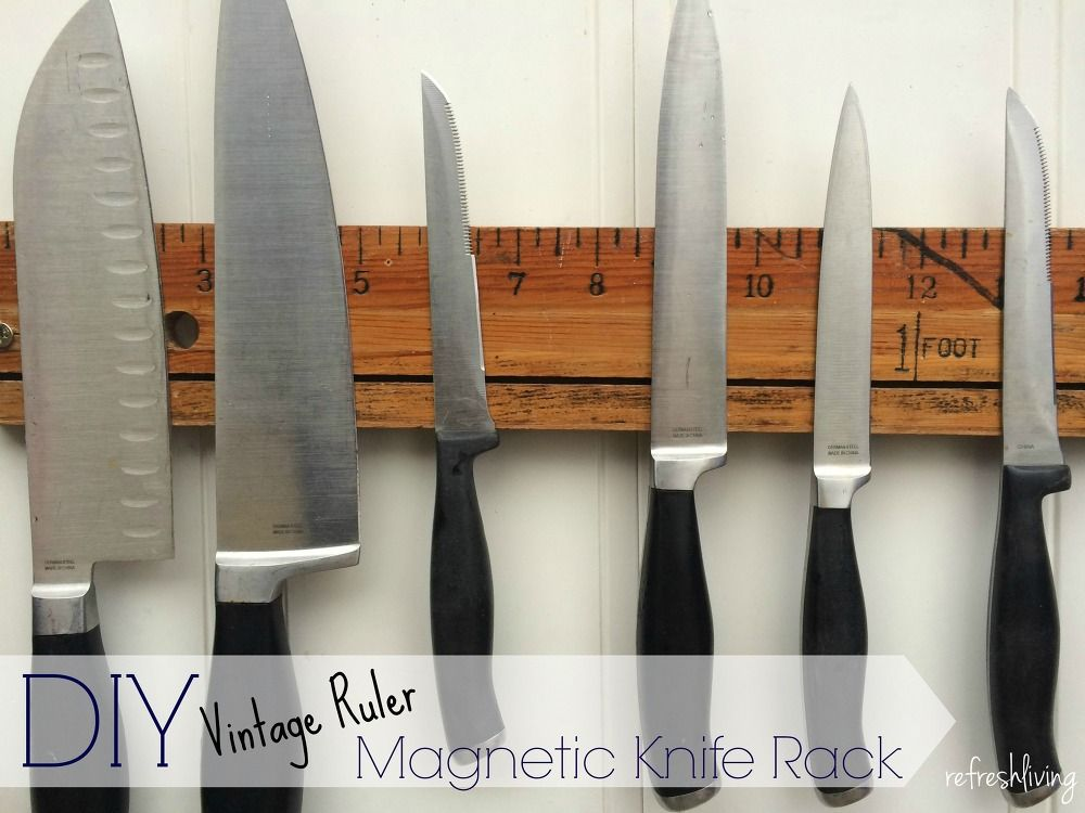 Diy Magnetic Knife Holder With A Vintage Ruler Magnetic Knife
