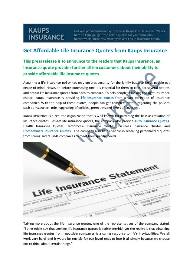 Affordable Life Insurance Quotes Entrancing Get Affordable Life Insurance Quotes From Kaups Insurance  Kaups
