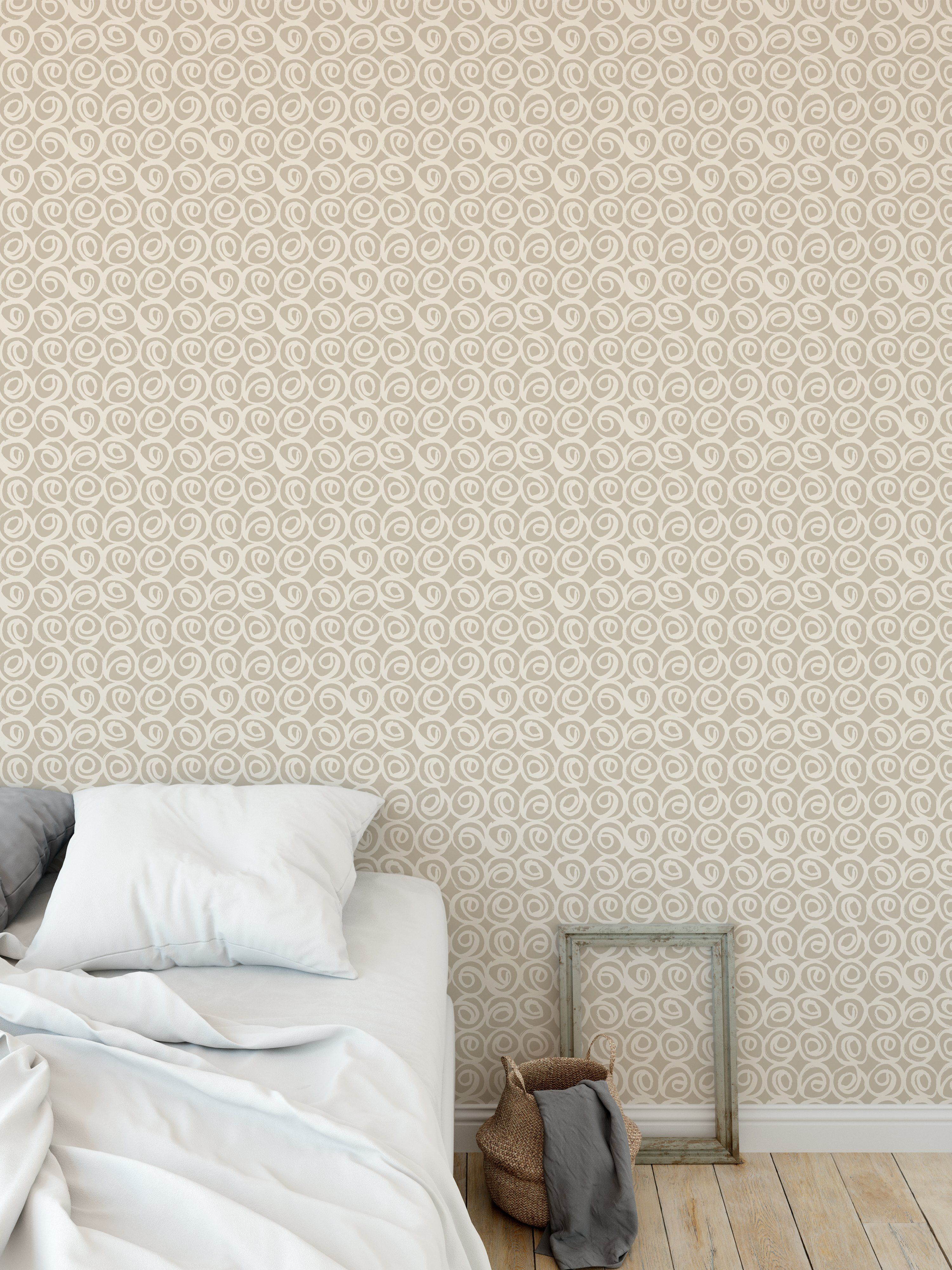 ROSES ABSTRACT BEIGE Peel and Stick Wallpaper By Kavka Designs - 2ft x 16ft