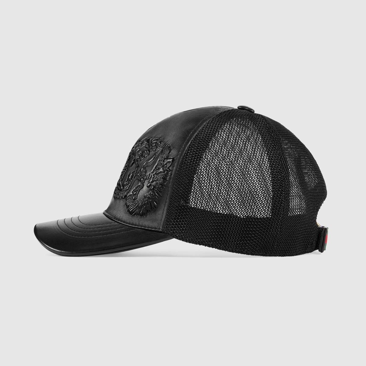GUCCI Tigers embossed leather baseball hat - embossed black leather.  gucci    4dfbc51ca79