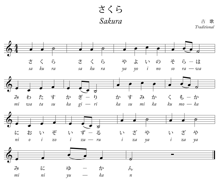 Sakura Song Sakura Sakura Wikipedia Music Theory Sakura Sheet Music