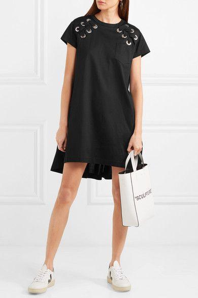 Lace-up Cotton-jersey Mini Dress - Black sacai RqPvOUVxD0