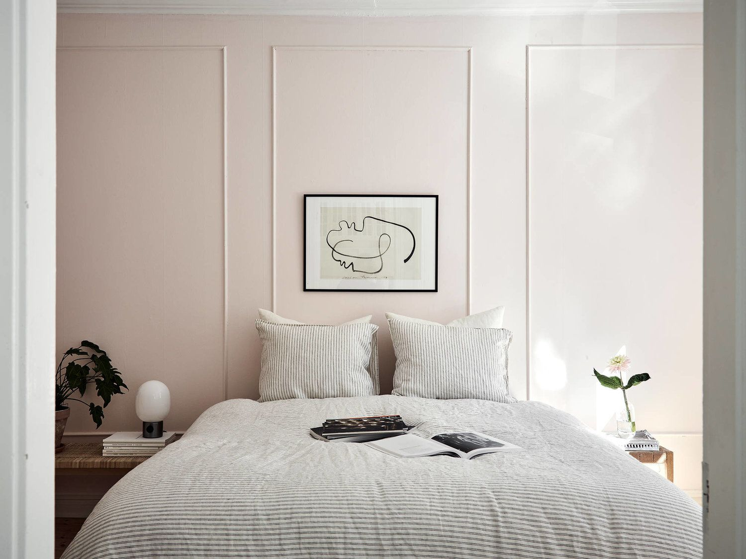 Parisian inspired bedroom with pale pink walls Bedroom