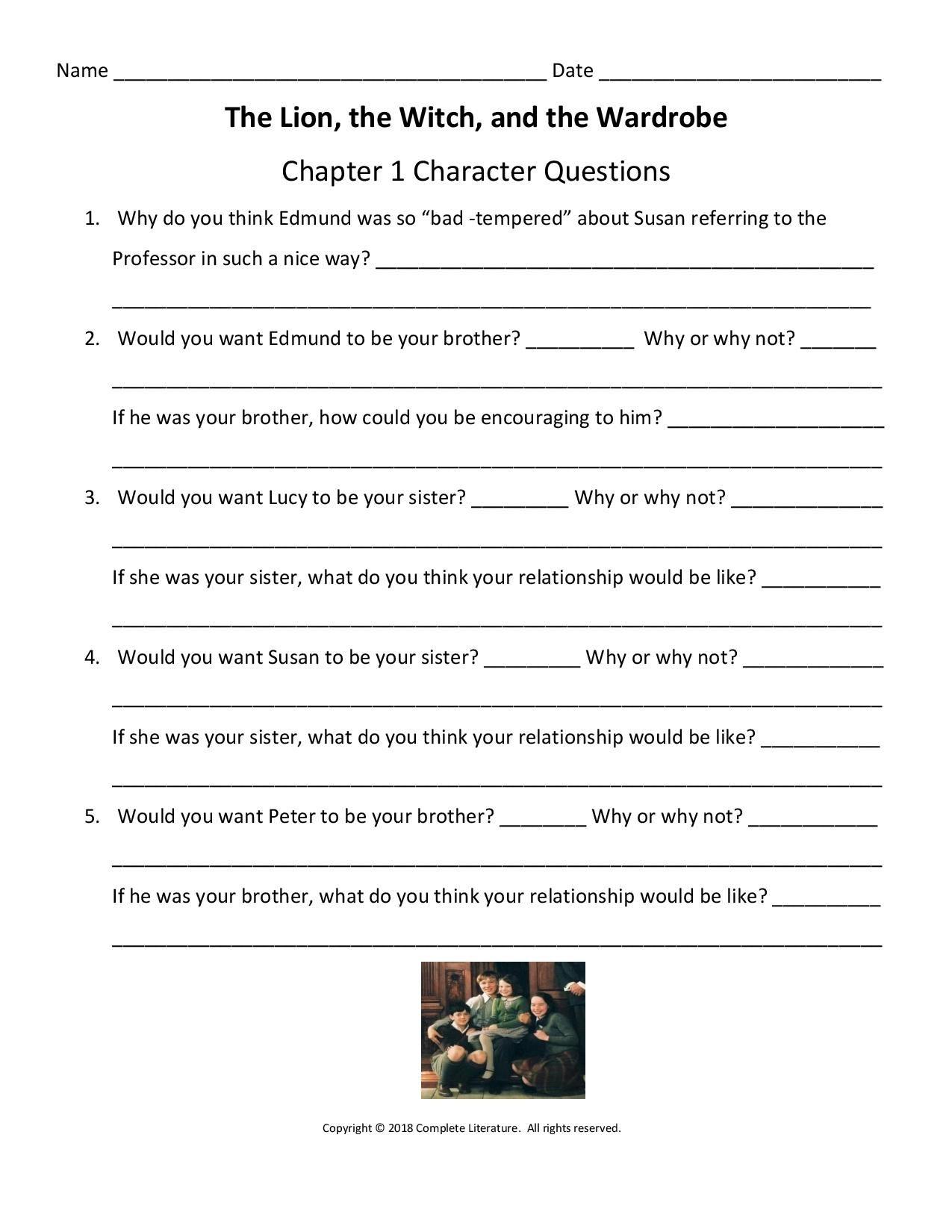 Narnia Worksheet Character Questions Essay Starters Literature Lessons Ela Worksheets [ 1650 x 1275 Pixel ]