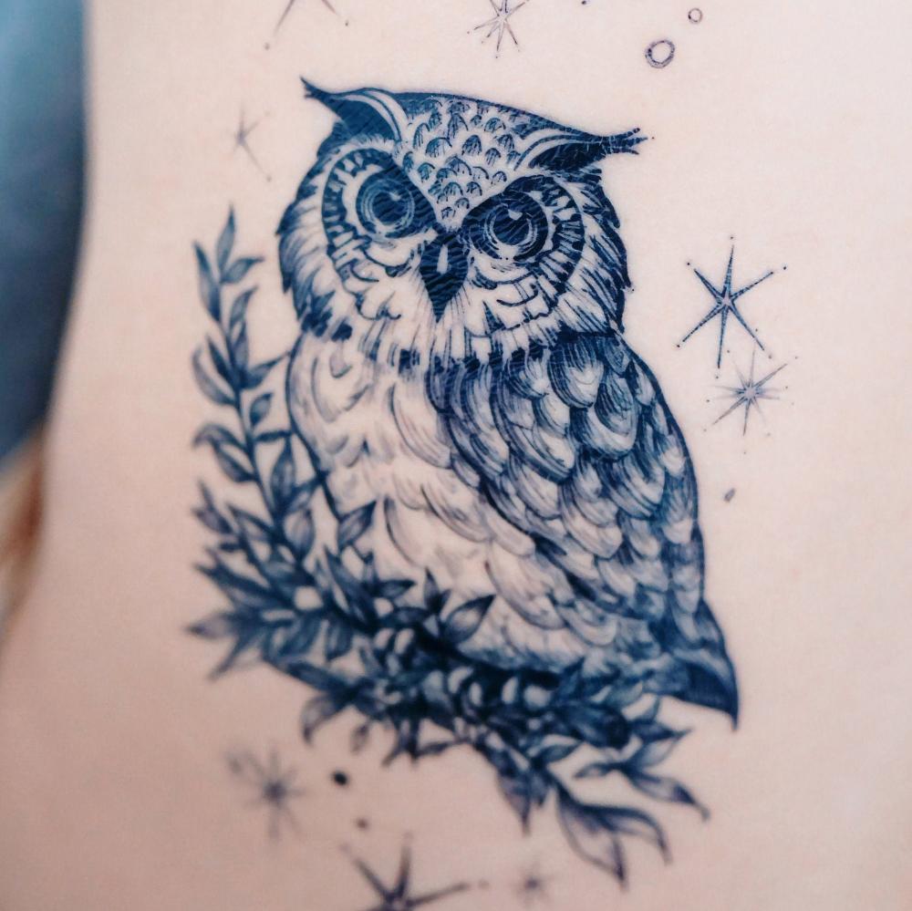 Blue Owl Tattoo Animal Tattoos Illustrative Tattoo Tattoo Design Realistic Temporary Tattoo Sticker Tatouage Temporaire Bird Tattoo Flash Hk In 2020 Realistic Temporary Tattoos Night Owl Tattoo Animal Tattoos