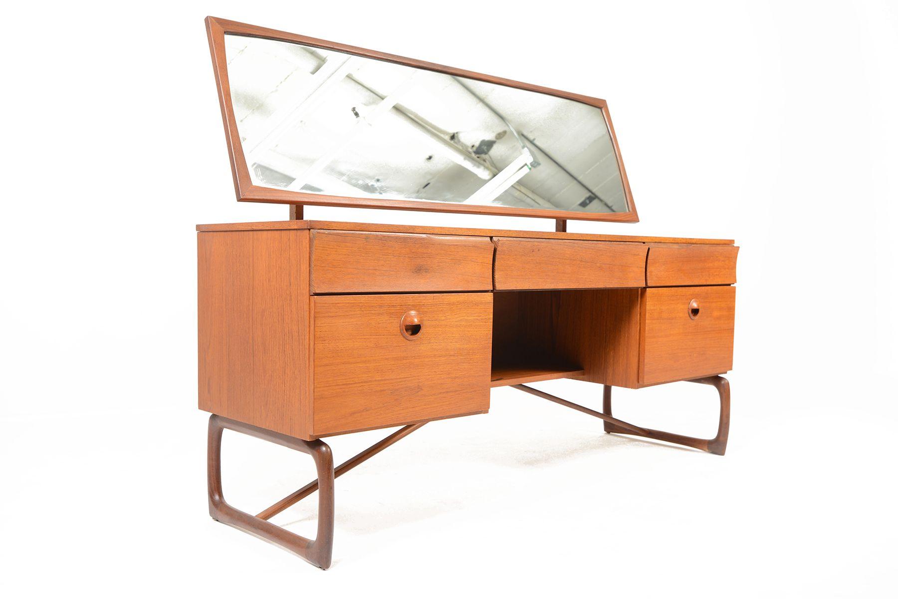 Best Scottish Modern Teak Sleigh Base Vanity • Mid Century 400 x 300
