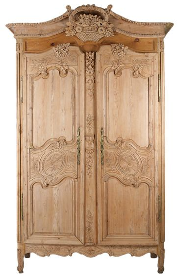 Rare French Hand Carved Pine Wood Armoire C 1840 S French