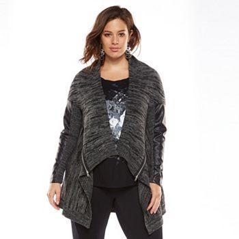 00e11bfd4bd Rock   Republic® Mixed-Media Open-Front Cardigan - Women s Plus Size