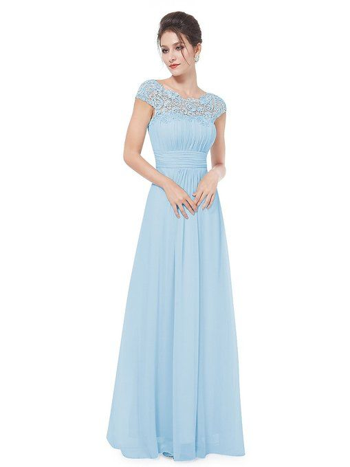 Powder blue chiffon long bridesmaid dresses bridesmaid for Baby blue wedding guest dress