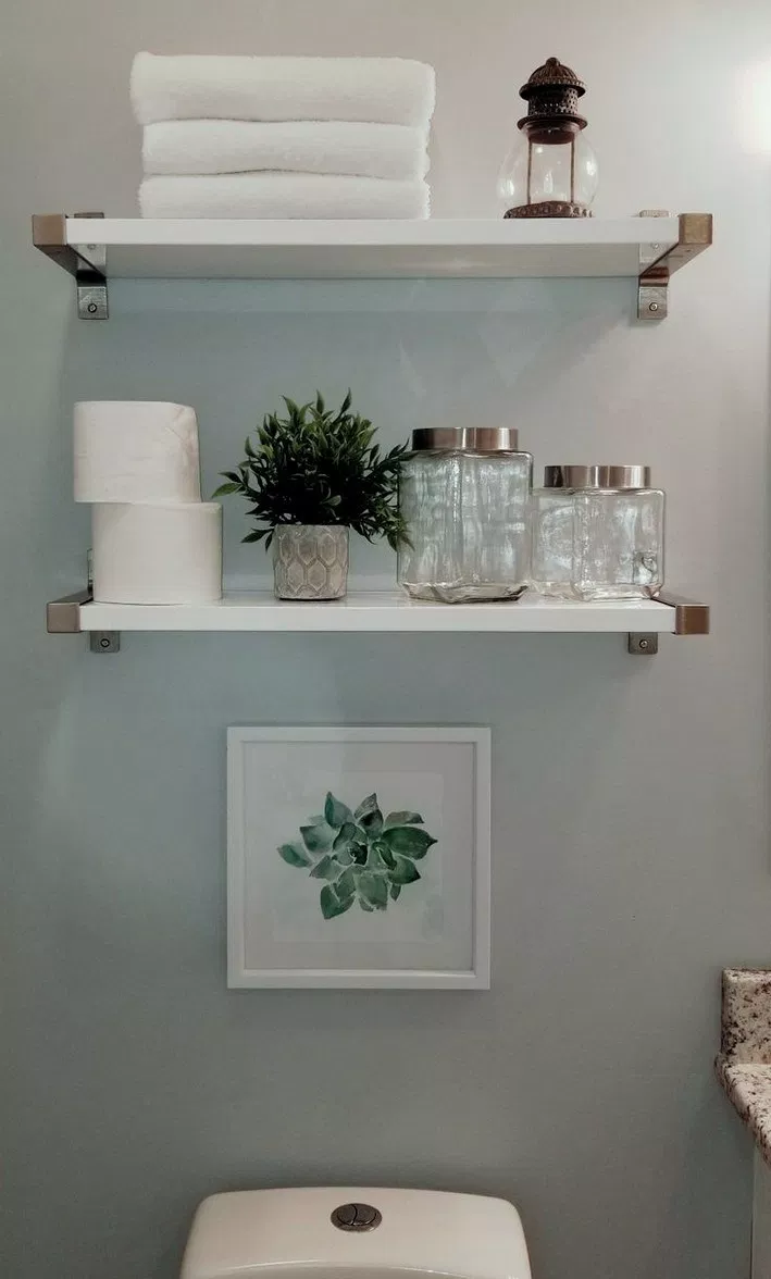 Wonderful Images Small Bathroom Shelves Concepts Modest Bathrooms Will Be Challenging To Design On Th Restroom Decor Small Bathroom Decor Diy Bathroom Storage