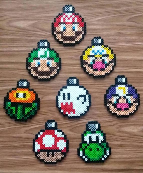 Geek Christmas Ornaments.Super Mario Perler Ornaments Perler Geek Christmas