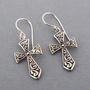 Http Purpleleopardboutique 2007 4854 Thickbox Sterling Cross Earringsdangle