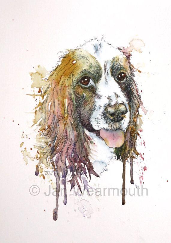 Custom Dog Portrait Custom Pet Portrait In By Wetnosewatercolours