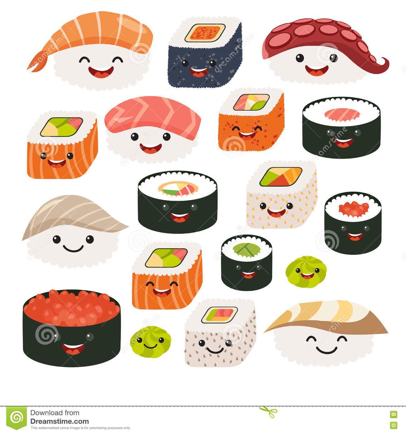 Emoji Sushi Characters.Cartoon Japanese Food. Vector Set