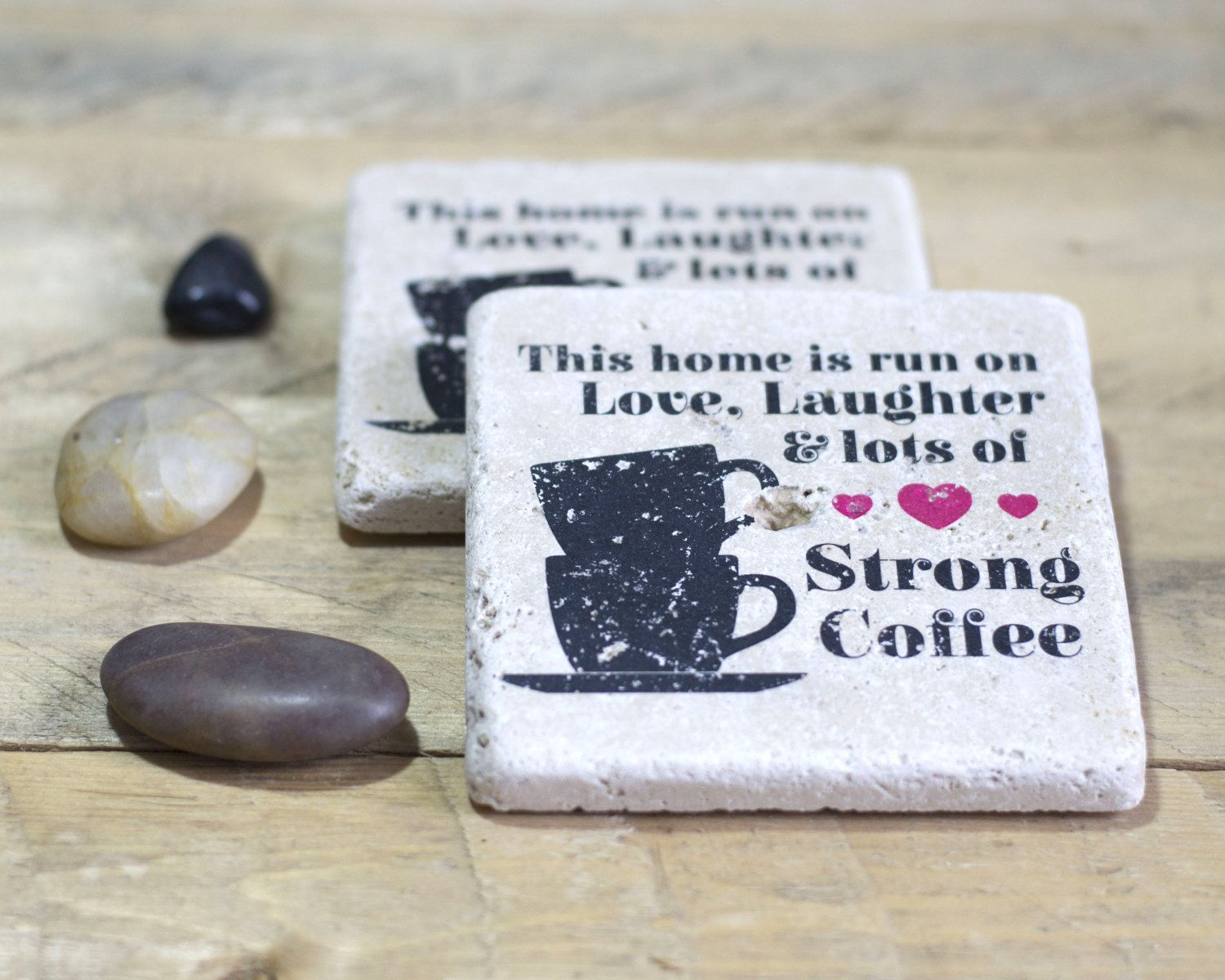 This home is run on Love, Laughter and Strong Coffee - Set of 2 or 4 - Natural Stone Coasters - Rustic Home Decor - Housewarming - Family by StampWithTiff on Etsy