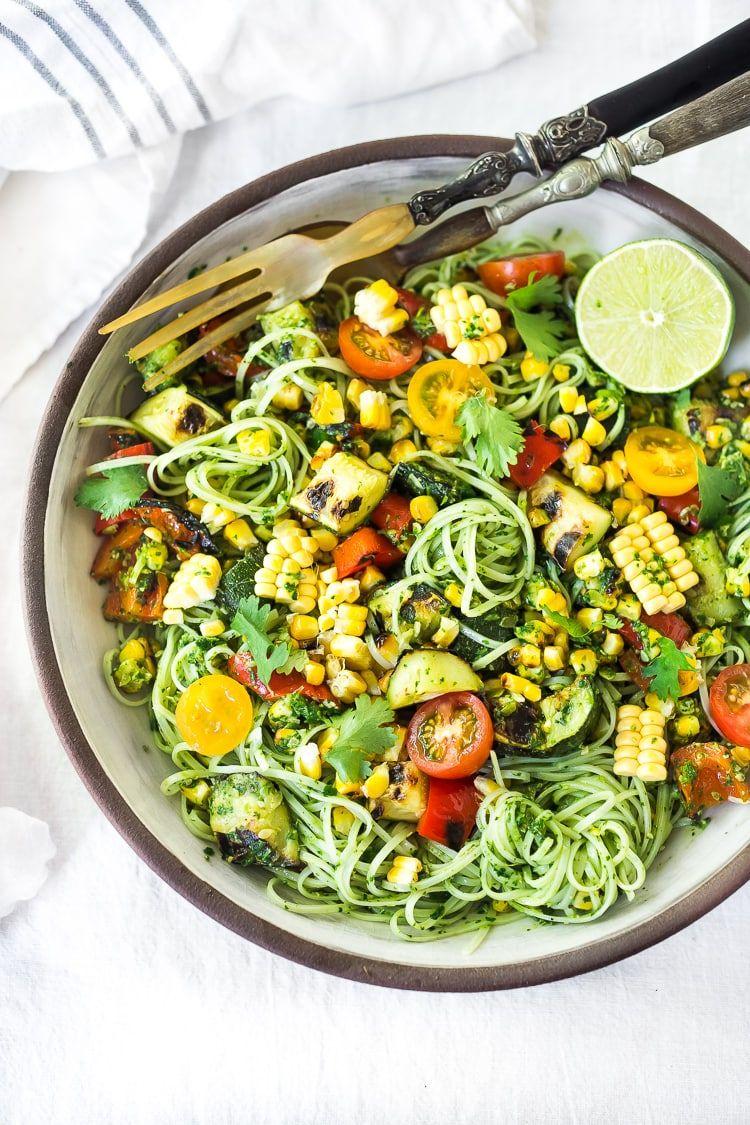 Summer Pasta Salad With Zucchini Corn And Cilantro Pesto