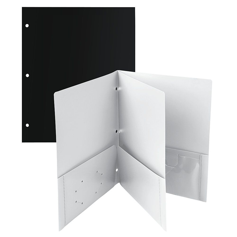 "Office Depot® Brand 4-Pocket Poly Portfolios, 8 1/2"" X 11"