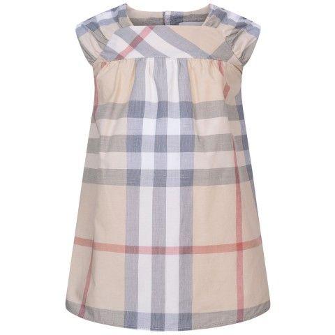 Burberry Baby Girls Beige Check Dress & Knickers Set