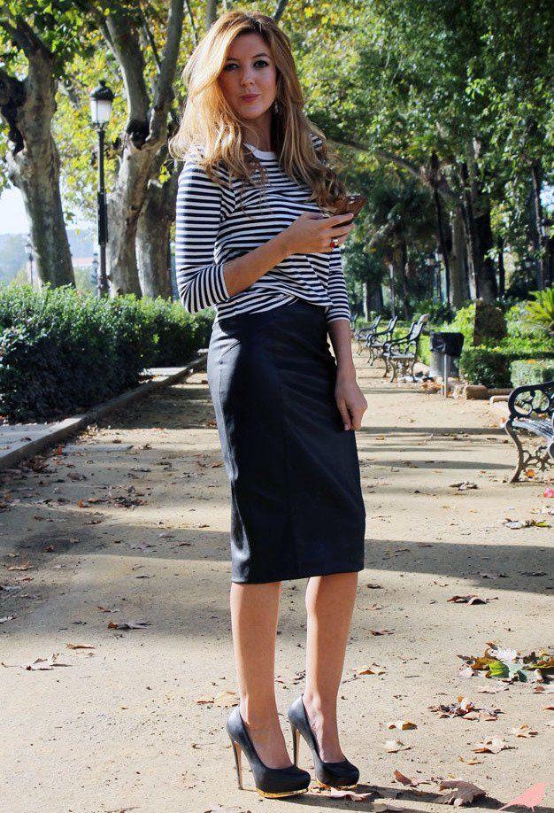 Roressclothes Closet Ideas Women Fashion Black Pencil Skirt Outfit Idea With Stripe Tops