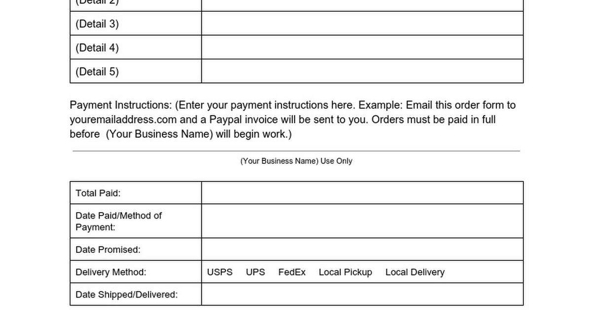 Your Business Name) (Business Address) (Business Phone Number - example of work order form