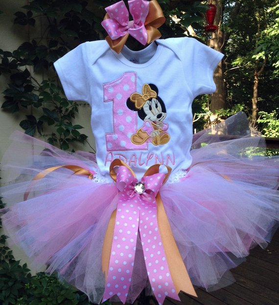 56e77ef5c9f Pink and Gold Baby Minnie Mouse 1st Birthday Outfit Onesie Tutu FREE ...